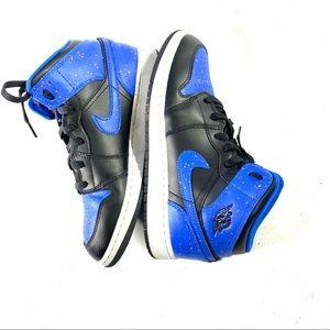 Nike Air Jordan 1 Blue Paint Splatter Sneakers 8.5